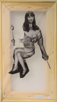 Mike Cloud - <i>Diane Arbus Hardcover: Burlesque dancer</i>, 2004, Paper collage on vellum with stretcher bars, 16 x 9 inches.