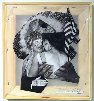 Mike Cloud - <i>Diane Arbus Hardcover: Couple dancing at a drag ball with a flag</1>, 2004, Paper collage on vellum with stretcher bars