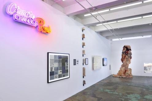 ecofeminism(s) curated by Monika Fabijanska - Installation view of ecofeminism(s), left to right: Andrea Bowers, Helène Aylon, Eliza Evans, Sonya Kelliher-Combs, Hanae Utamura, Betsy Damon, Aviva Rahmani. Courtesy of Thomas Erben Gallery, New York, June/July 2020