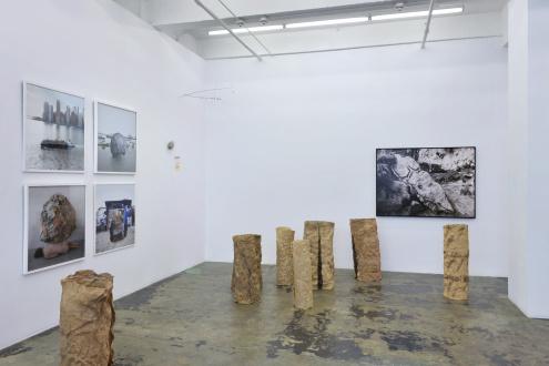 ecofeminism(s) curated by Monika Fabijanska - Installation view of ecofeminism(s), left to right: Mary Mattingly, Cecilia Vicuña, Bilge Friedlaender, and Ana Mendieta. Courtesy of Thomas Erben Gallery, New York, June/July 2020