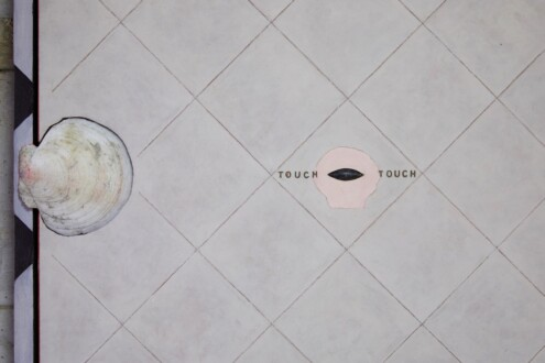 PAINTING STONE - <i>Touch Touch</i>, 20014. Shells with found object, 25 3/4 x 25 3/4 in (detail).