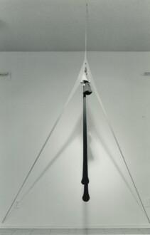 Nylon Mesh - <i>R.S.V.P. XIII</i>, March 1977 (original piece/documentation) Nylon mesh and sand 5 x 12 x 3 ft.  Recreated for the show <i>Non Toccare La Donna Bianca</i>, Fondazione Sandretto Re Rebaudengo, Torino, Italy. The recreated version is in the collection of Fondazione Sandretto Re Rebaudengo.