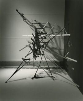 Nylon Mesh - <i>Nukey-Nukey</i>, 1981 (original piece/documentation) Nylon mesh, wooden slats, 7 x 10 x 6 feet overall (site specific) Recreated for 2014 MCA Denver exhibition.
