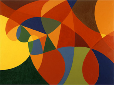 """Line or Shape, Curved or Straight - Untitled, 2004, 36 x 48"""", oil on canvas"""