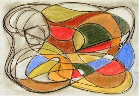 """Line or Shape, Curved or Straight - Untitled, 2004, 13-3/4 x 19-3/4"""", pastel on paper"""