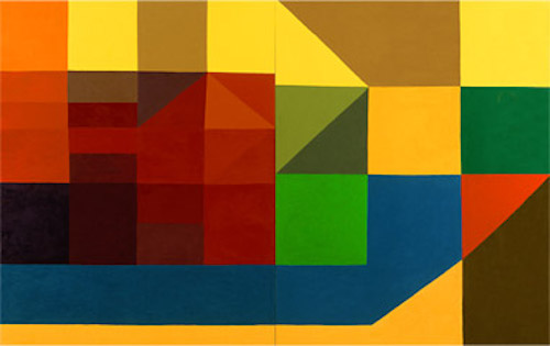 """Line or Shape, Curved or Straight - Untitled, 2001, 60 x 96"""", diptych, oil on canvas"""