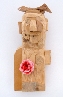 Roza-El-Hassan - Little Monk, 2014. Wood and mixed media, 20.5 x 9.5 x 7.5 in.